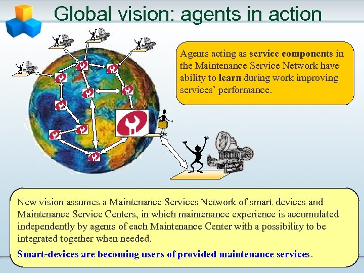Global vision: agents in action Agents acting as service components in the Maintenance Service