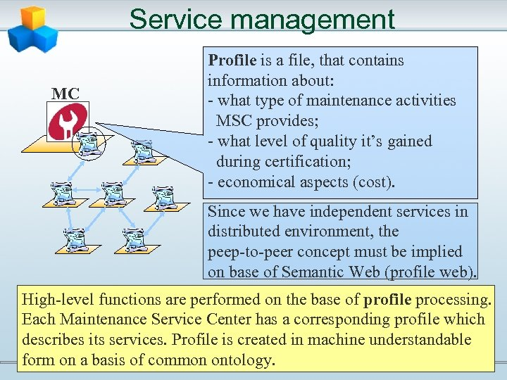 Service management MC Profile is a file, that contains information about: - what type