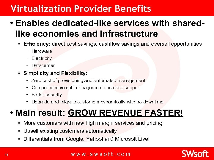Virtualization Provider Benefits • Enables dedicated-like services with sharedlike economies and infrastructure ▪ Efficiency: