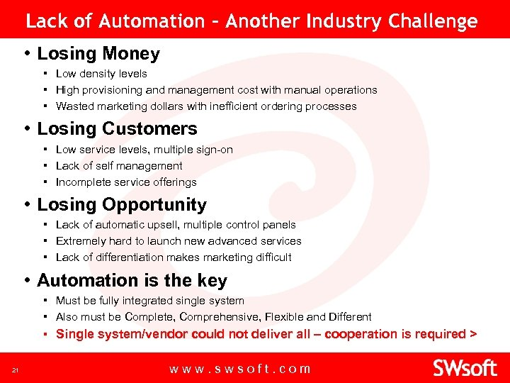 Lack of Automation - Another Industry Challenge • Losing Money ▪ Low density levels