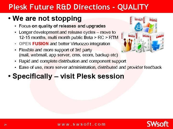 Plesk Future R&D Directions - QUALITY • We are not stopping ▪ Focus on