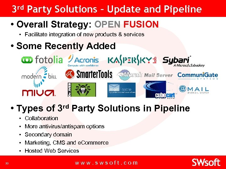 3 rd Party Solutions – Update and Pipeline • Overall Strategy: OPEN FUSION ▪