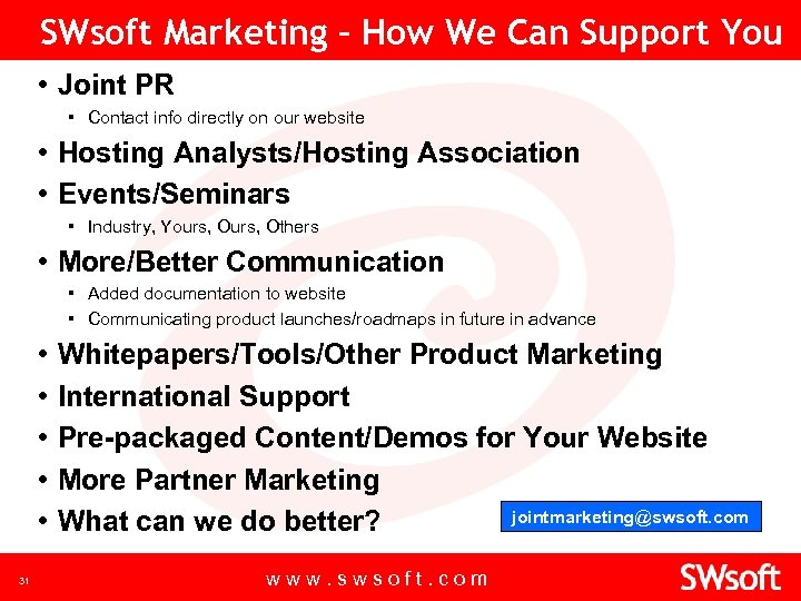 SWsoft Marketing – How We Can Support You • Joint PR ▪ Contact info
