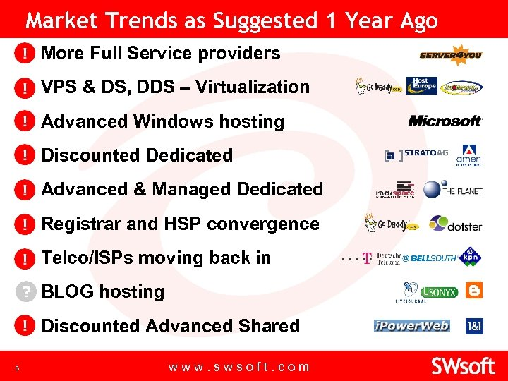 Market Trends as Suggested 1 Year Ago • More Full Service providers • VPS
