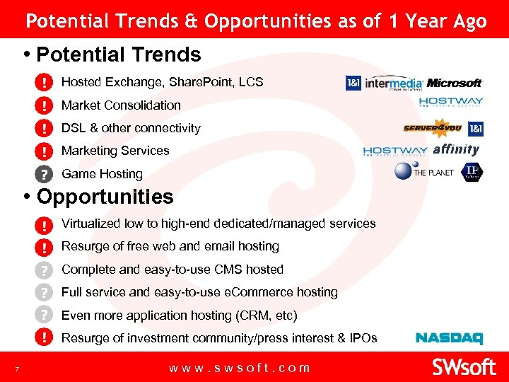 Potential Trends & Opportunities as of 1 Year Ago • Potential Trends ▪ Hosted