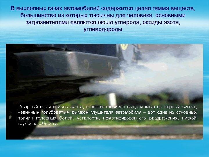 В выхлопных газах автомобилей содержится целая гамма веществ, большинство из которых токсичны для человека,