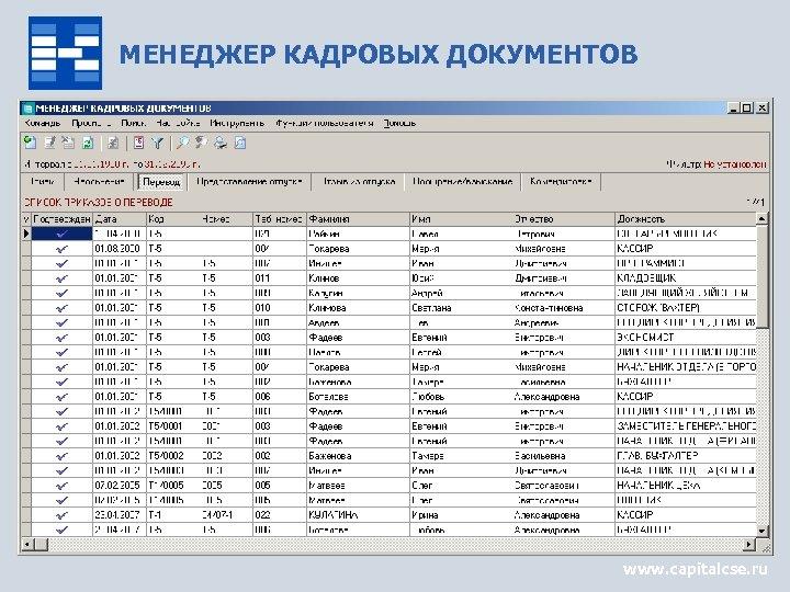 МЕНЕДЖЕР КАДРОВЫХ ДОКУМЕНТОВ www. capitalcse. ru