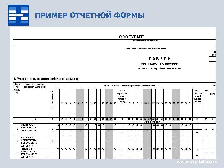 ПРИМЕР ОТЧЕТНОЙ ФОРМЫ www. capitalcse. ru