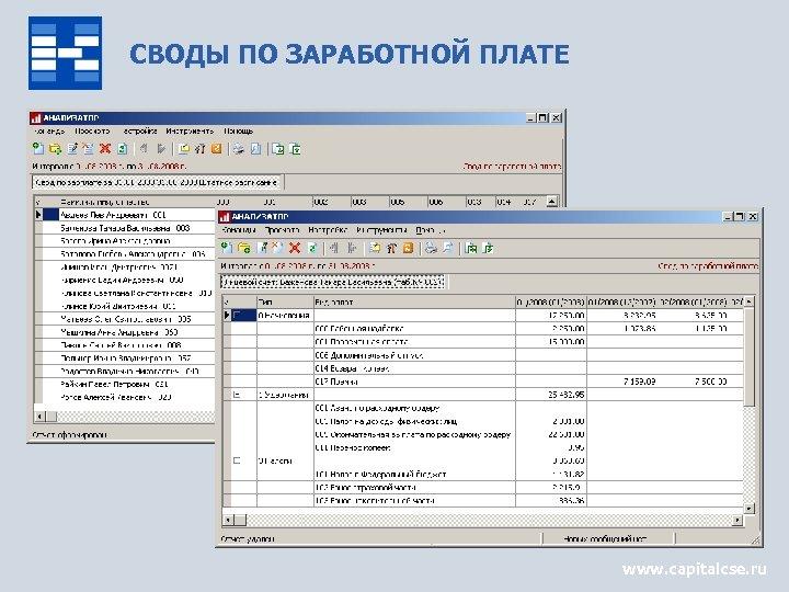 СВОДЫ ПО ЗАРАБОТНОЙ ПЛАТЕ www. capitalcse. ru