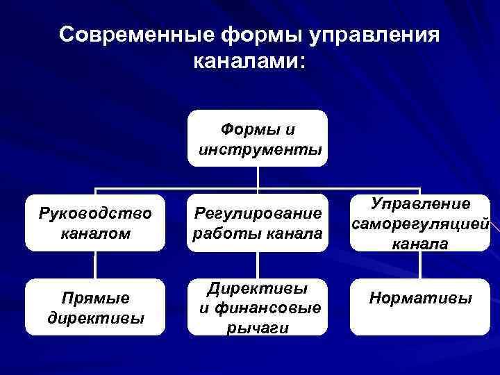Современные формы управления каналами: Формы и инструменты Руководство каналом Регулирование работы канала Прямые директивы