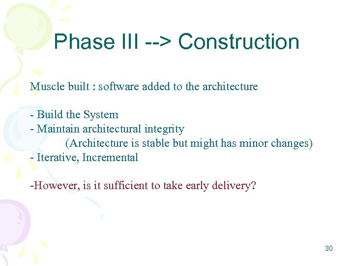 Phase III --> Construction Muscle built : software added to the architecture - Build