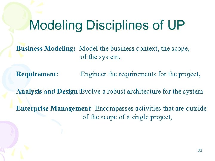 Modeling Disciplines of UP Business Modeling: Model the business context, the scope, of the