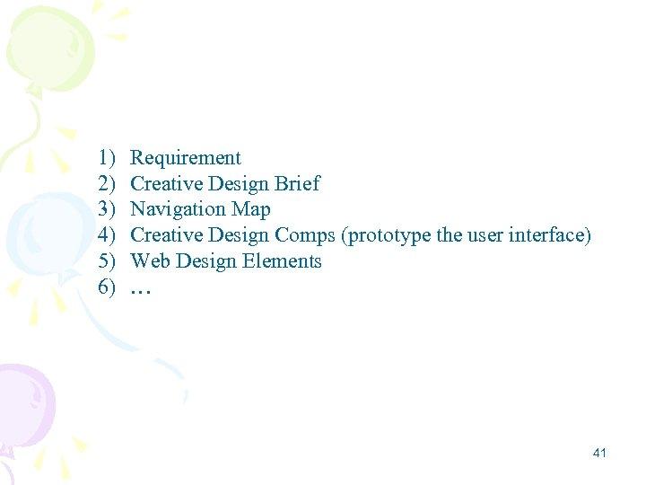 1) 2) 3) 4) 5) 6) Requirement Creative Design Brief Navigation Map Creative Design