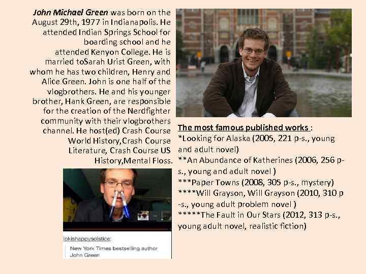 John Michael Green was born on the August 29 th, 1977 in Indianapolis. He