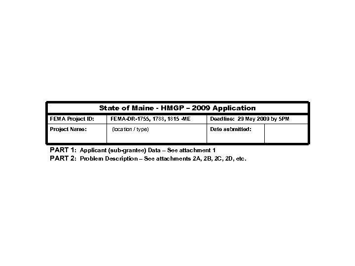 State of Maine - HMGP – 2009 Application FEMA Project ID: FEMA-DR-1755, 1788, 1815