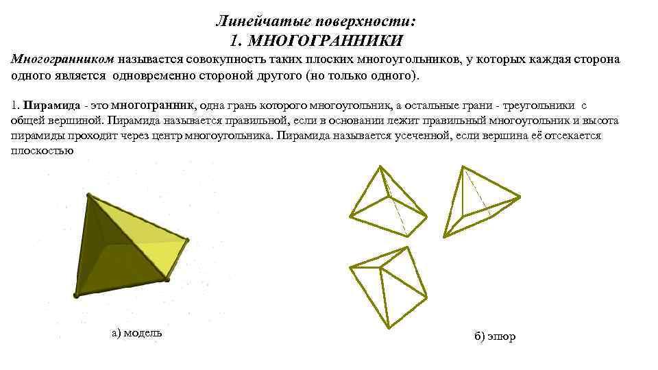 Линейчатые поверхности: 1. МНОГОГРАННИКИ Многогранником называется совокупность таких плоских многоугольников, у которых каждая сторона
