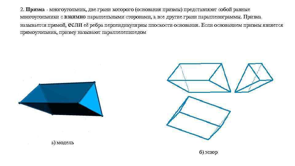 2. Призма - многоугольник, две грани которого (основания призмы) представляют собой равные многоугольники с