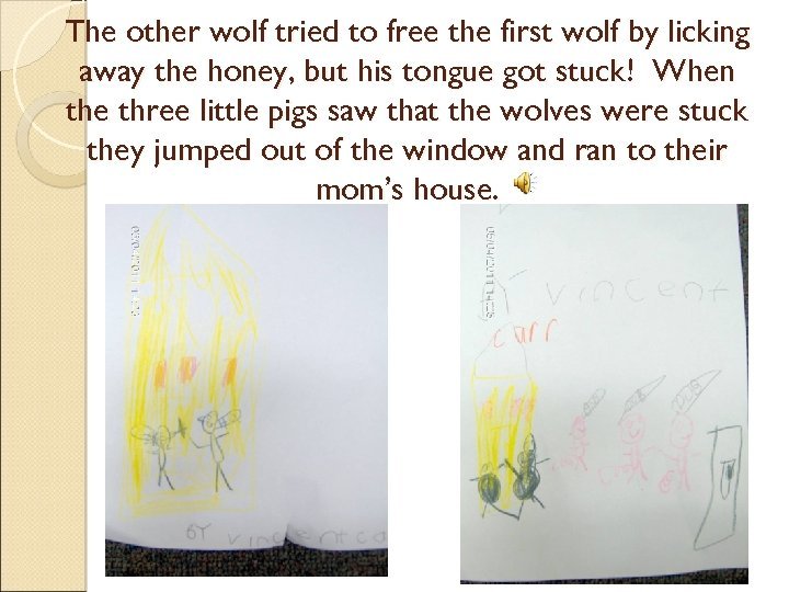 The other wolf tried to free the first wolf by licking away the honey,