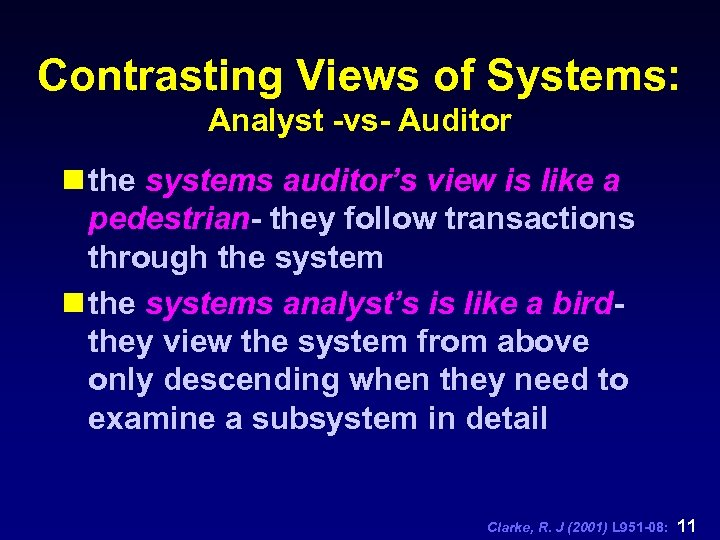 Contrasting Views of Systems: Analyst -vs- Auditor n the systems auditor's view is like