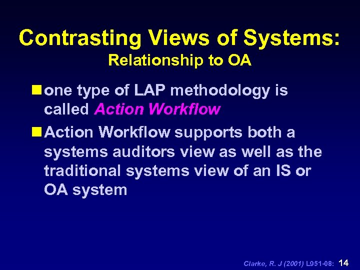 Contrasting Views of Systems: Relationship to OA n one type of LAP methodology is