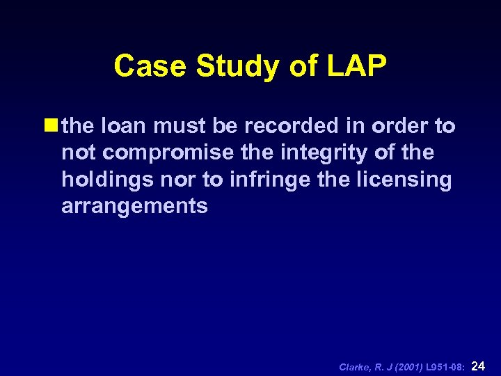 Case Study of LAP n the loan must be recorded in order to not