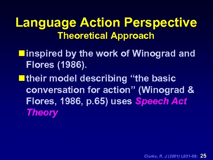 Language Action Perspective Theoretical Approach n inspired by the work of Winograd and Flores