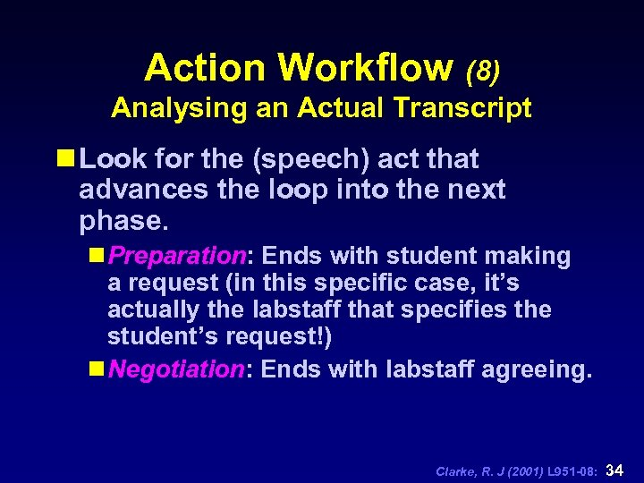 Action Workflow (8) Analysing an Actual Transcript n Look for the (speech) act that