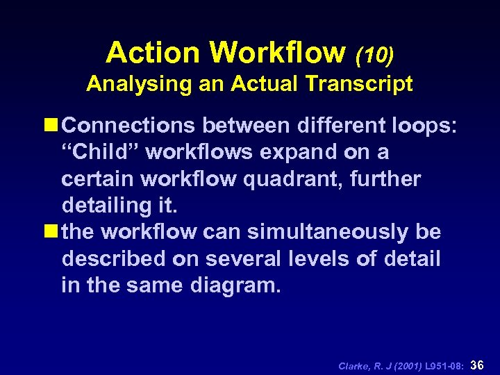 """Action Workflow (10) Analysing an Actual Transcript n Connections between different loops: """"Child"""" workflows"""