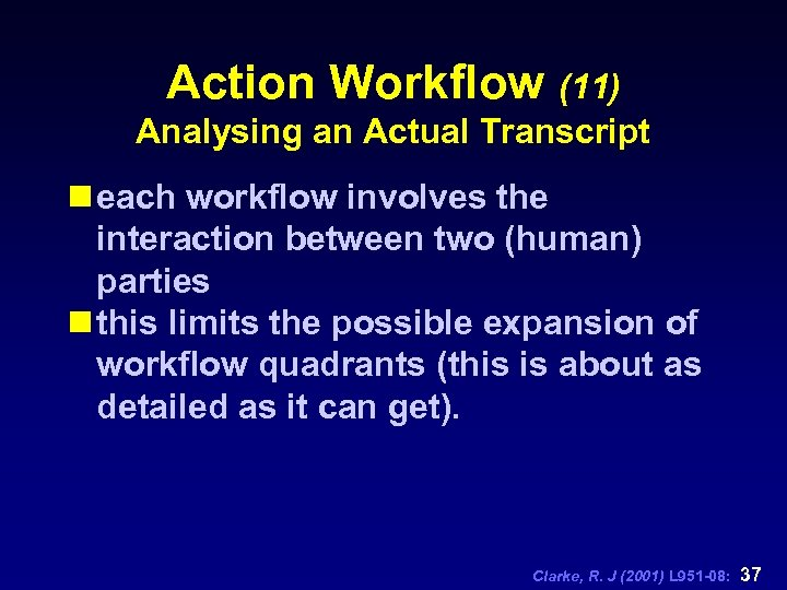 Action Workflow (11) Analysing an Actual Transcript n each workflow involves the interaction between