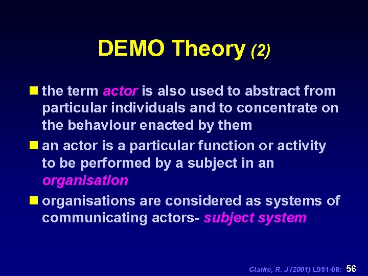 DEMO Theory (2) n the term actor is also used to abstract from particular