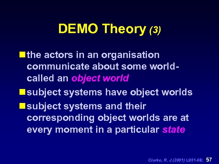 DEMO Theory (3) n the actors in an organisation communicate about some worldcalled an