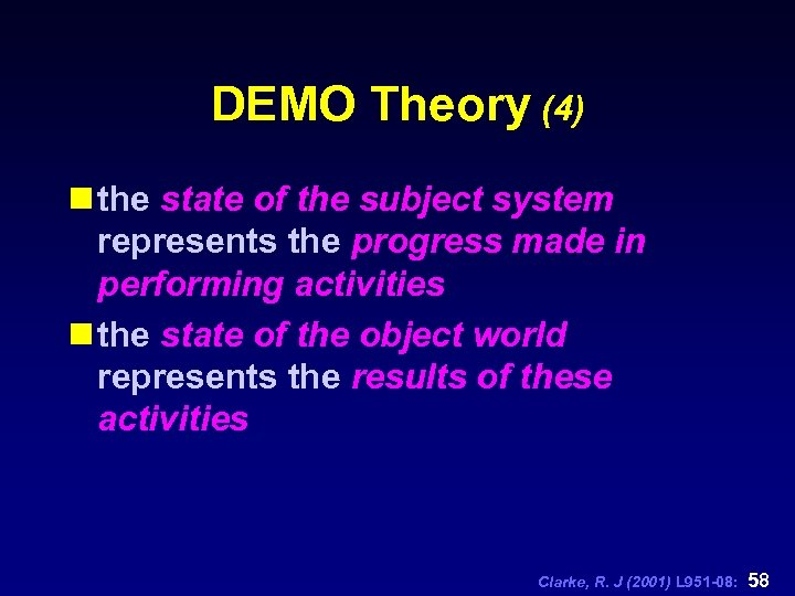 DEMO Theory (4) n the state of the subject system represents the progress made