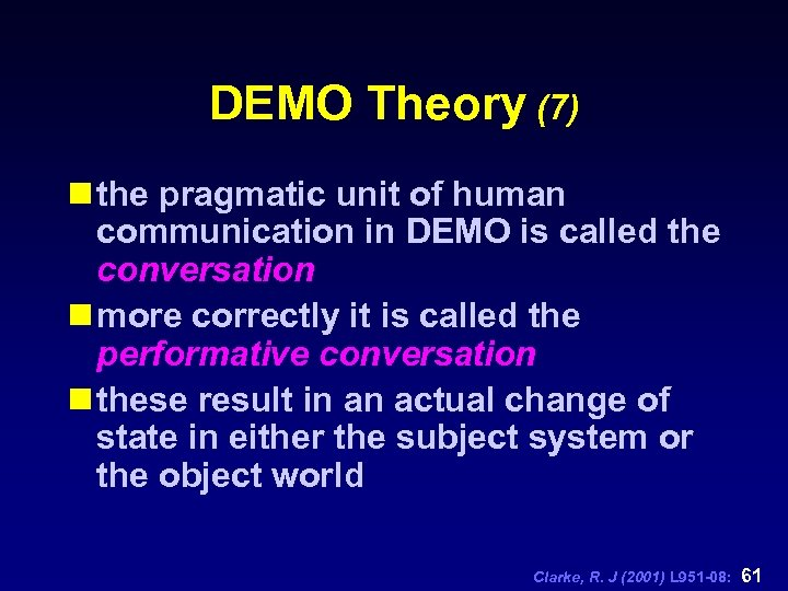 DEMO Theory (7) n the pragmatic unit of human communication in DEMO is called