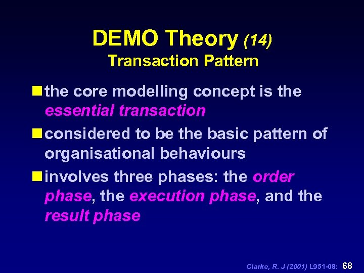 DEMO Theory (14) Transaction Pattern n the core modelling concept is the essential transaction