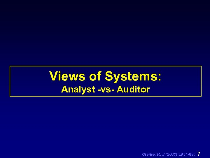 Views of Systems: Analyst -vs- Auditor Clarke, R. J (2001) L 951 -08: 7