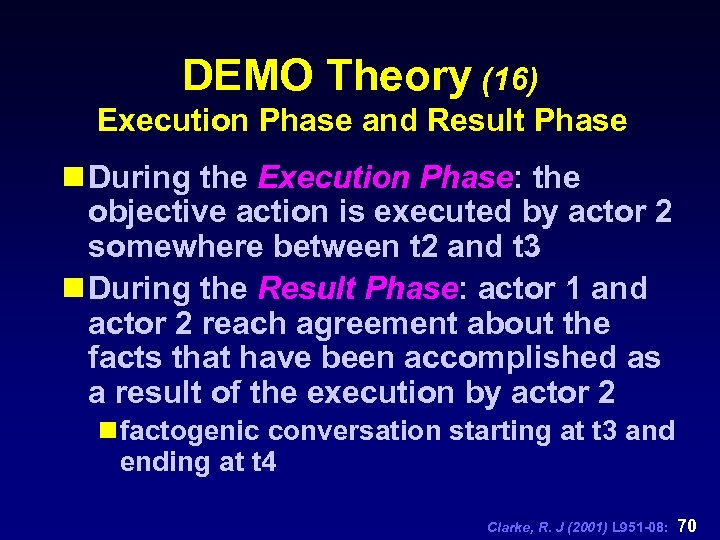 DEMO Theory (16) Execution Phase and Result Phase n During the Execution Phase: the