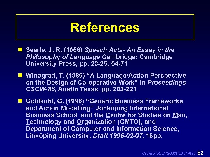 References n Searle, J. R. (1966) Speech Acts- An Essay in the Philosophy of