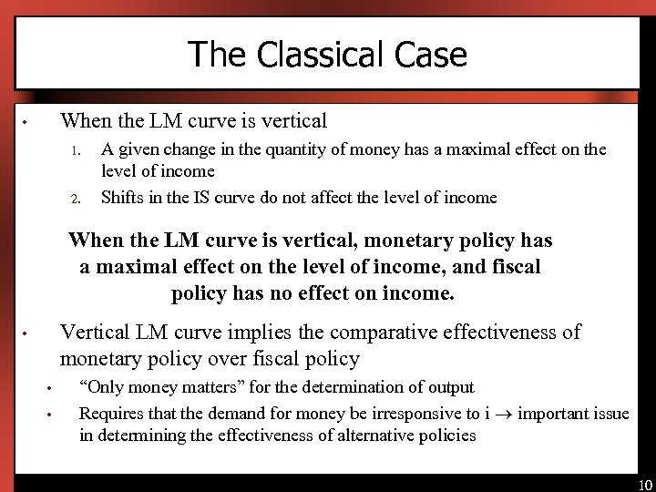 The Classical Case When the LM curve is vertical • 1. 2. A given