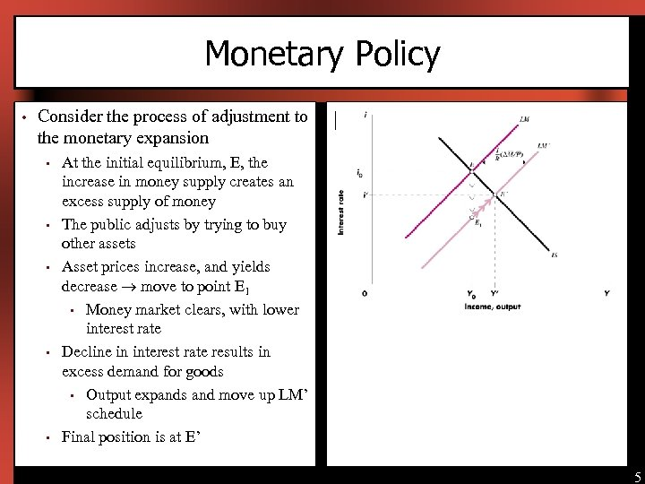 Monetary Policy • Consider the process of adjustment to the monetary expansion • •
