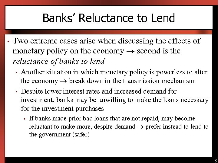 Banks' Reluctance to Lend • Two extreme cases arise when discussing the effects of