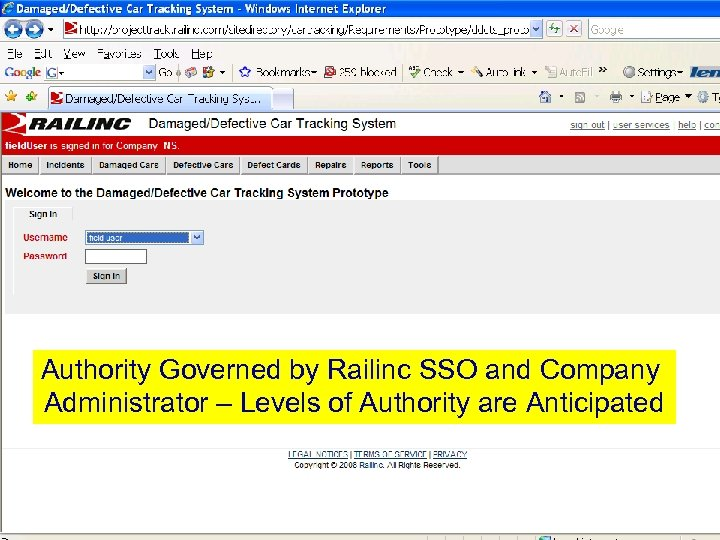 Authority Governed by Railinc SSO and Company Administrator – Levels of Authority are Anticipated