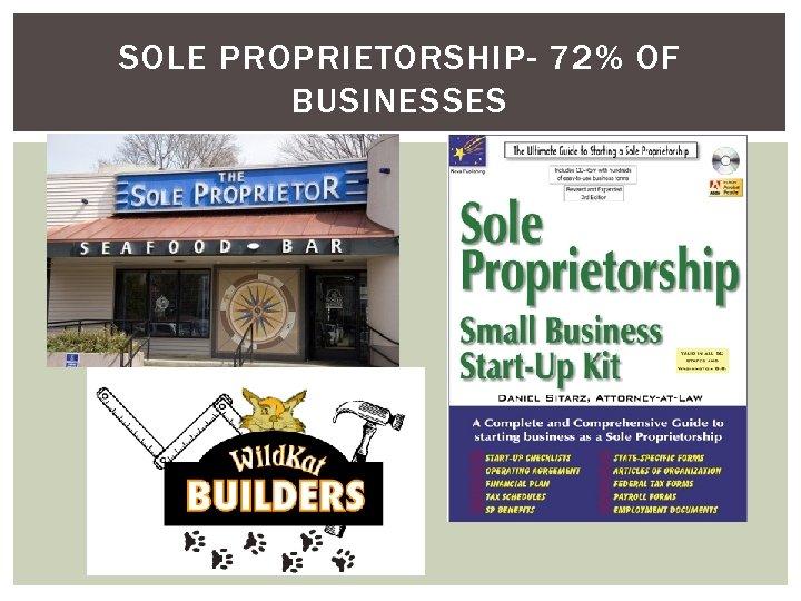 SOLE PROPRIETORSHIP- 72% OF BUSINESSES