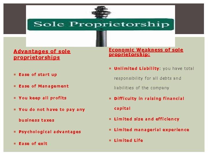 Advantages of sole proprietorships Economic Weakness of sole proprietorship : Unlimited Liability: you have