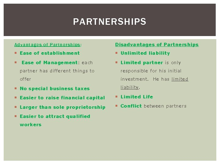 PARTNERSHIPS Advantag es o f Partnerships : Disadvantage s of Partnershi ps Ease of