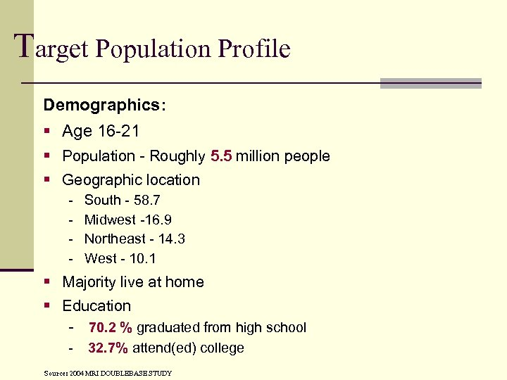 Target Population Profile Demographics: § Age 16 -21 § Population - Roughly 5. 5