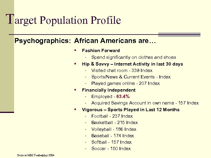 Target Population Profile Psychographics: African Americans are… § § Source: MRI Twelveplus 2004 Fashion