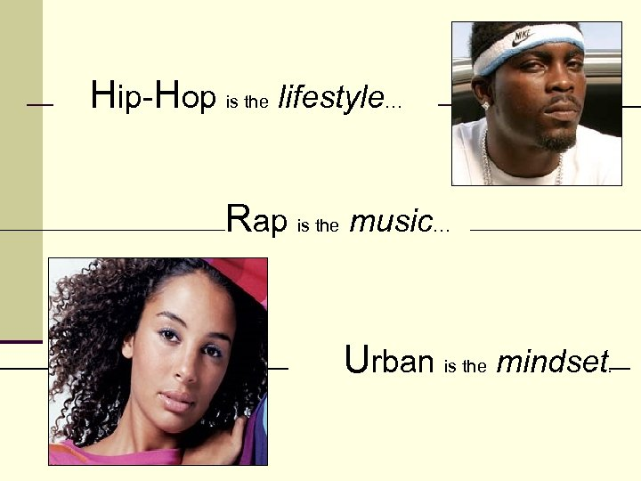 Hip-Hop is the lifestyle… Rap is the music… Urban is the mindset.