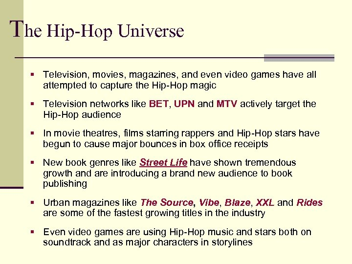 The Hip-Hop Universe § Television, movies, magazines, and even video games have all attempted