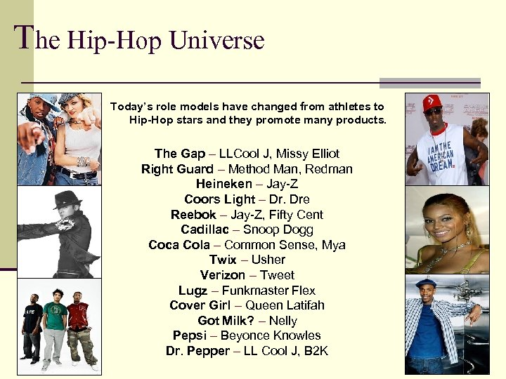 The Hip-Hop Universe Today's role models have changed from athletes to Hip-Hop stars and