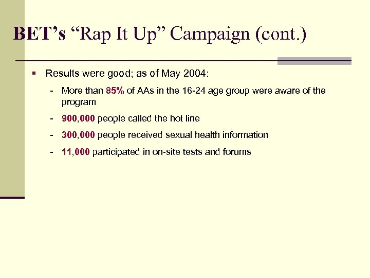 """BET's """"Rap It Up"""" Campaign (cont. ) § Results were good; as of May"""